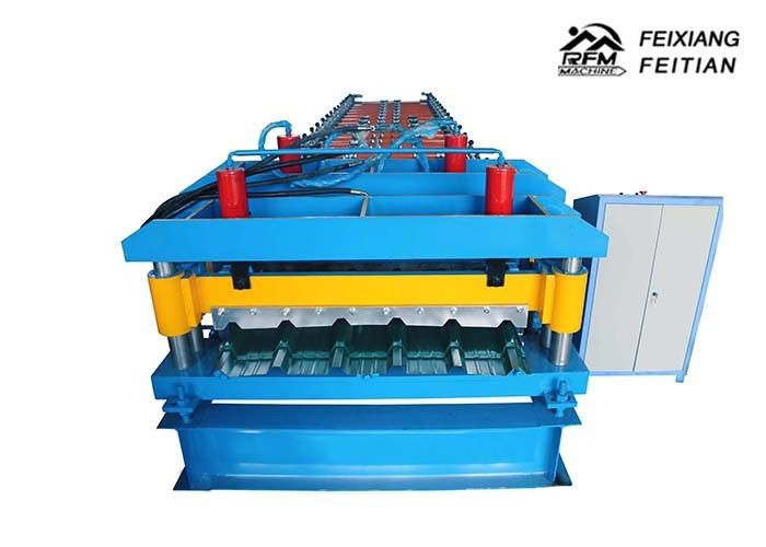 Hydraulic Metal Glazed Tile Roll Forming Machine With 2 - 5m/Min Speed