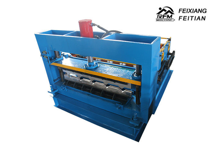 Blue Roofing Sheet Crimping Machine , Automatic Curving Roll Forming Machine